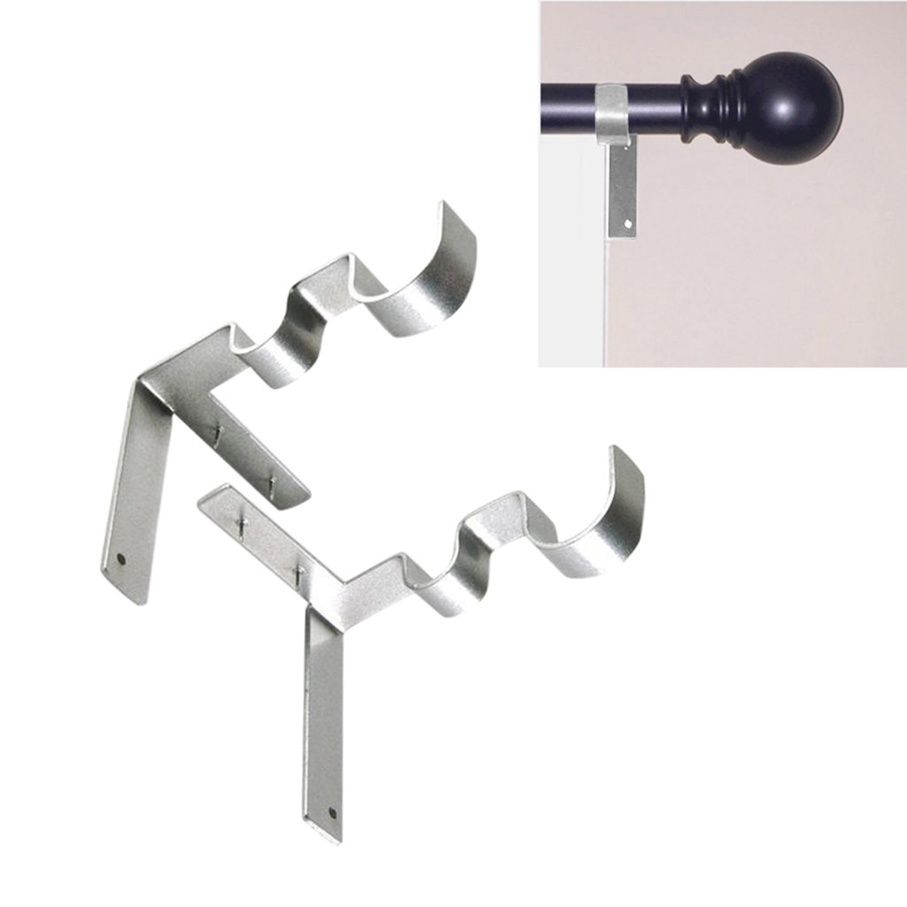 Us 3 77 43 Off Hot 1 Pair Curtain Rod Decorative Double Extensible Accessories Bracket For Window Decoration Double Curtain Rod Bracket In