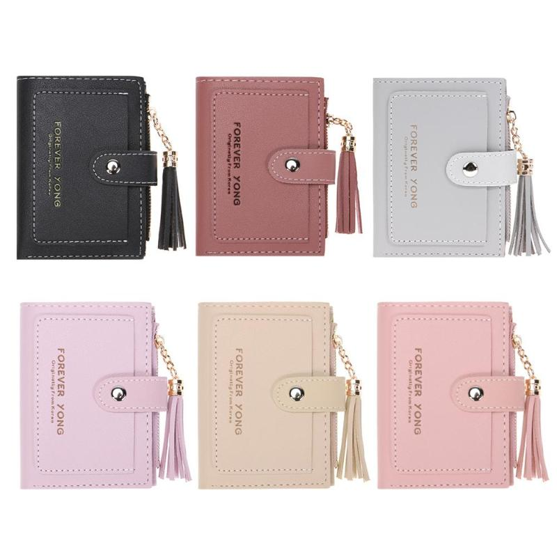 Folded Women Short Wallet Tassels Mini Clutch Purse Fashion Female Zipper Wallet Hasp Small Short Wallet Coin Purse Card Holder