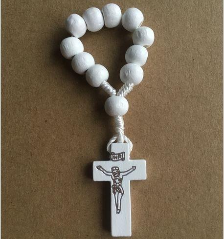 20pcs/lot Free Shipping 8mm Bead Wood Rosary Ring/ Catholic Ring/ Religious Rosary Ring FR1001-1