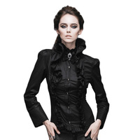 Steampunk Shirts Women Victorian Gothic Long Sleeve Blouse Casual Shirt Tops With Stand Collar Slim Fit Shirt Female