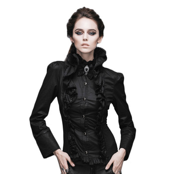 Vintage gótico victoriano camisa mujeres negro blanco Formal Top Stand Collar mujeres blusas de manga larga Slim Fit