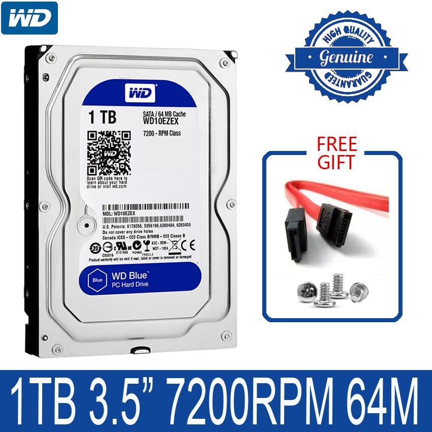 """WD BLUE 1 ТБ внутренний жесткий диск 3,5 """"7200 об/мин 64 м кэш SATA III 6 ГБ/сек. 1000 Гб HDD HD Жесткий диск для настольного компьютера"""