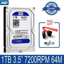 """Wdブルー1テラバイト内蔵ハードディスクドライブ3.5 """"7200rpm 64mキャッシュsata iii 6ギガバイト/秒1000ギガバイトhdd hdハードディスクデスクトップコンピュータ"""