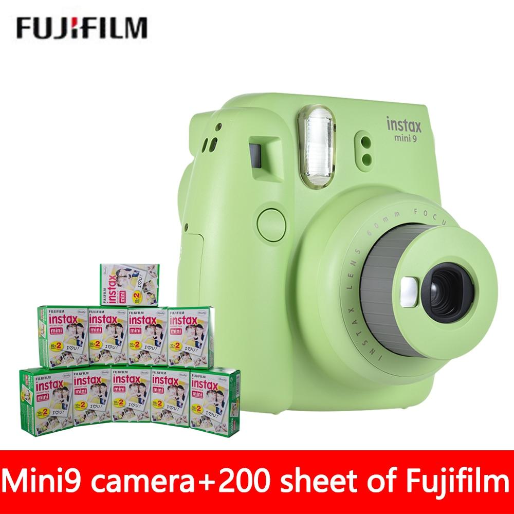 New 5 Colors Luxurious Package Fujifilm Instax Mini 9 Film Camera + 200 Sheet Fuji Mini 8 9 White 3 Inches Film + Close Up Lens