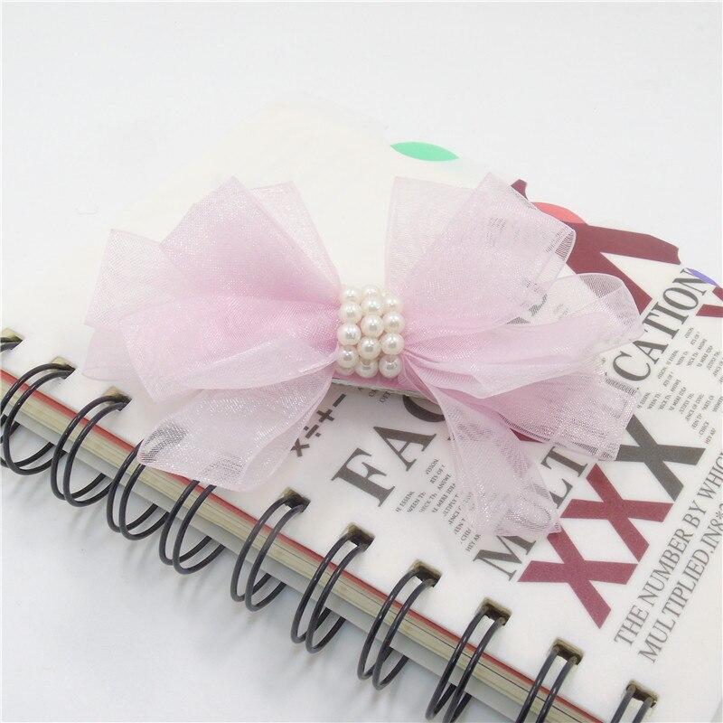 10 шт./лот бабочка галстук заколки бантом газовое волос ткани сбоку волосы ручки милые белые заколки с жемчугом изящные pinch - Цвет: pink