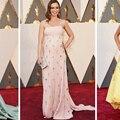 2017 88th Oscar Premios de la Academia Emily Blunt A-Line Vestidos de La Celebridad con Spaghtti Correas Blush Rosa de Raso Vestidos de la Alfombra Roja