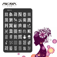 1PC ANGNYA MLS Series Nail Art Image Plate Stainless Steel Hollywood Design Nail Template Manicure Stencil