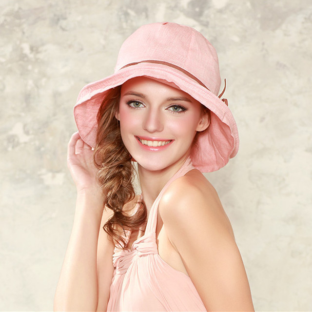 Envío gratis sombrero Kenmont sombreros de verano mujer señora Color sólido 100% algodón de protección solar playa sombrero de ala ancha Cap DE-3073