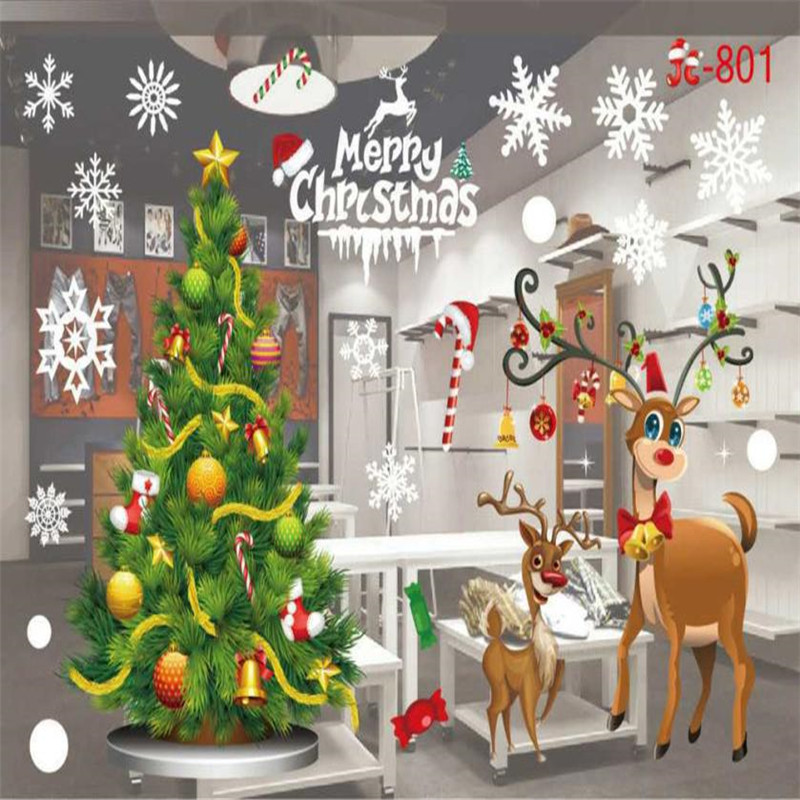 Christmas Snowflake Window Sticker Winter Wall Stickers Kids Room Christmas Decorations for Home New Year 13 Styles Stickers .