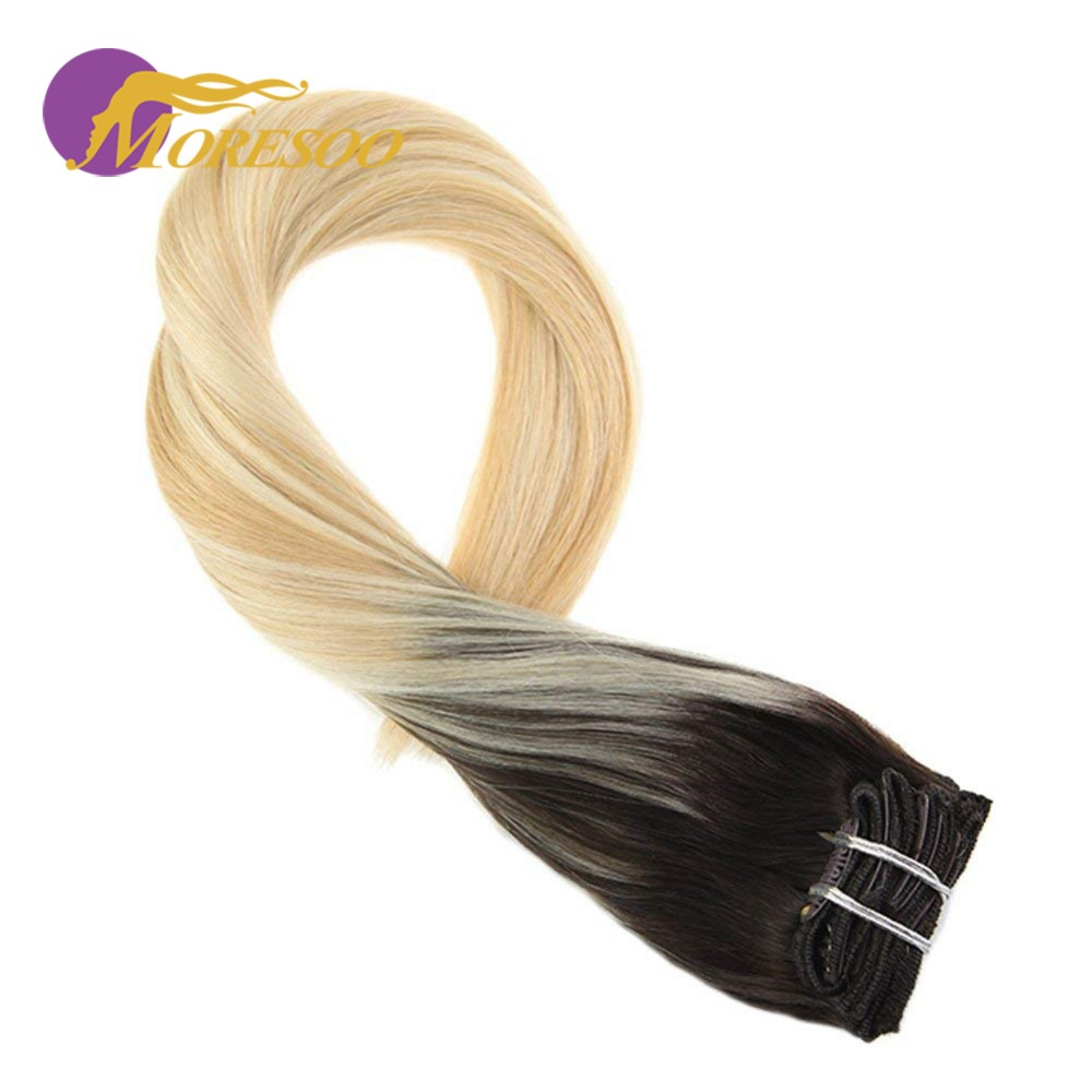 Moresoo 100g 16-24 Balayage Color Clip In Hair Extensions 100% Human Hair Extensions Full Head Set Straight Hair 7Pcs