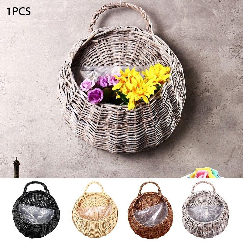 Плетеная подвесная корзина-ваза контейнер гнездо цветочный горшок балкон 23*18 см Настенный декор ручной работы плантатор натуральные материалы гостиная