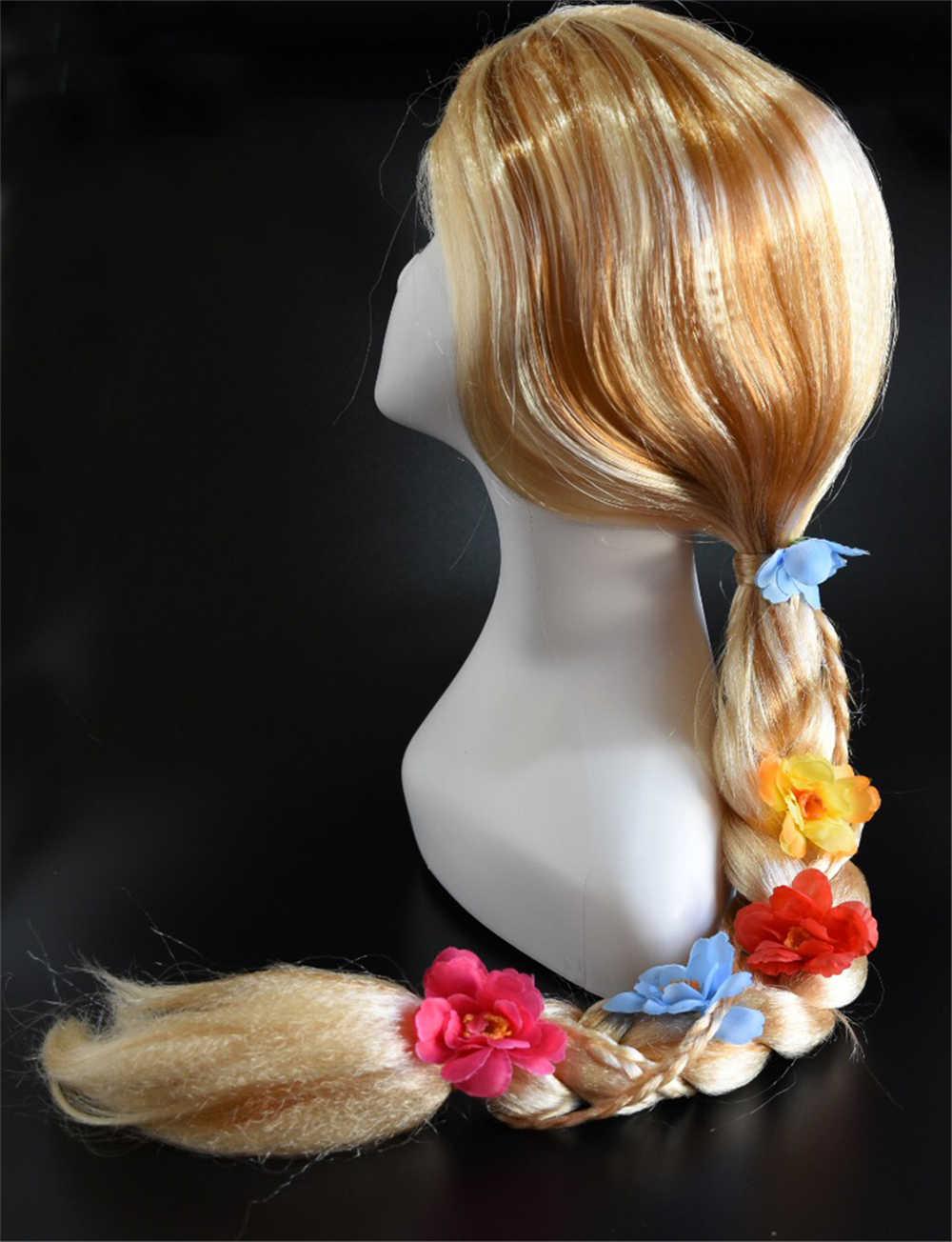 Ragazza Della Principessa Rapunzel Vestito Del Manicotto di Soffio 3d Farfalla Splendido Abiti Da Bambino Di Natale di Halloween per Bambini Rapunzel Dress Up Dei Capelli della Parrucca