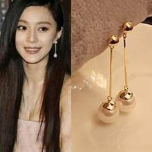Free shipping 2018 New Pair Fashion Popular Long Pearl Earrings Gold Pearl Earrings Fashion Woman gift Jewelry Hot Sale Earrings(China)