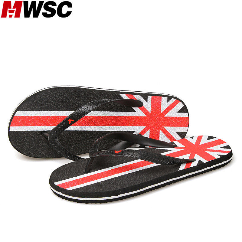 MWSC Summer New Beach Water Slippers Men's Fashion Pritnted Flip Flops Black Brown Blue Shoes new summer