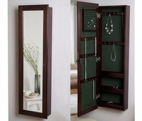 HLC Wall Mounted Locking Wooden Jewelry Armoire Cabinet With Mirror Espresso 14 5w X 48h In