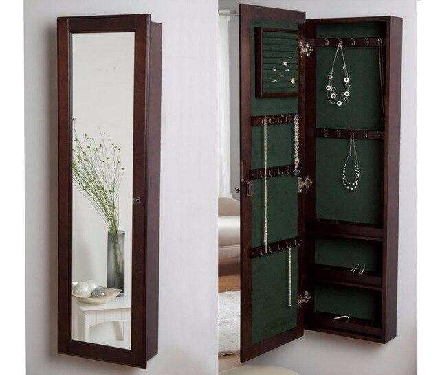 Kleerkast Met Spiegel.Hlc Wandmontage Locking Houten Sieraden Kast Kast Met Spiegel