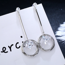 QTWINDY Shiny Crystal Round Earrings Charming for Women Trendy Fashion Cubic Zirconia Jewelry Brincos