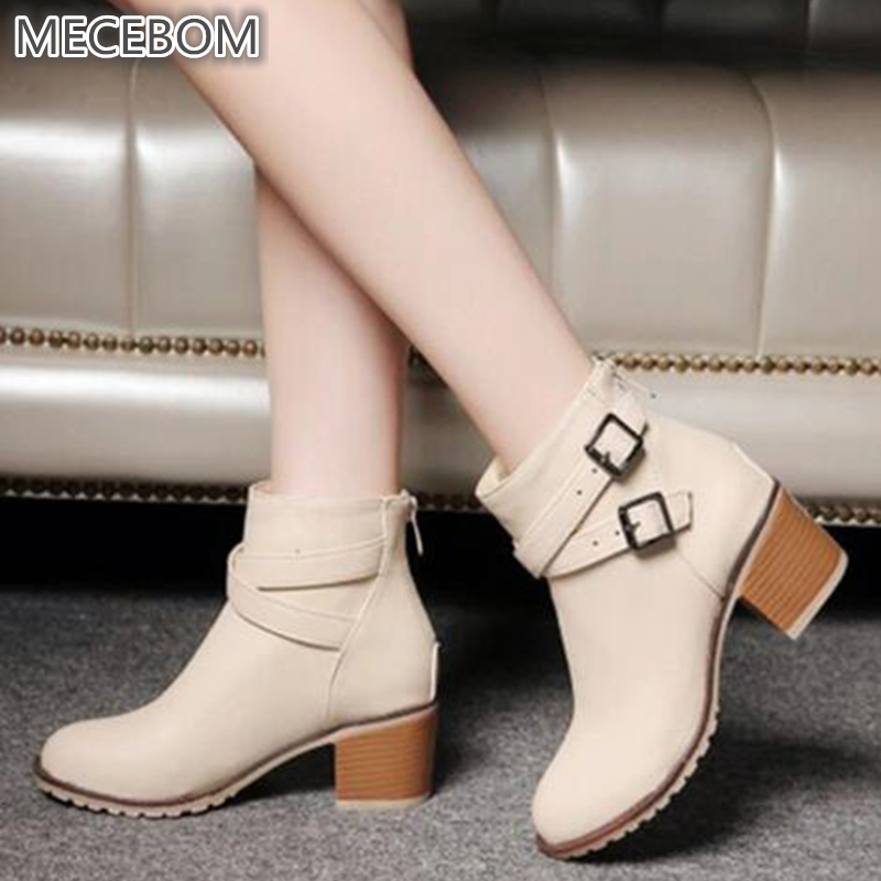 Autumn and winter women vintage Europe star fashion women high heels Ankle boots Snow short boots zipper plus size 34-43 0839W цена 2017