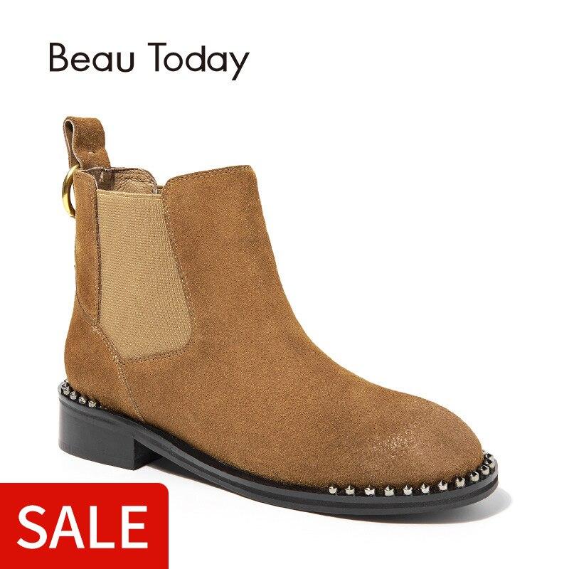 BeauToday Chelsea bottes femmes à la main en cuir véritable vache daim botte bande bout rond cheville métal décoration dame chaussures 03057