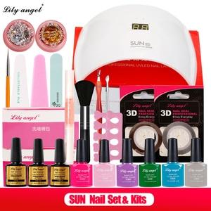 24W SUN9s Intelligent UV LED Lamp &6Color UV Gel Nail Polish Soak Off Base+Top Coat Nail Art Tools Sets Kits nail polish kit Z25