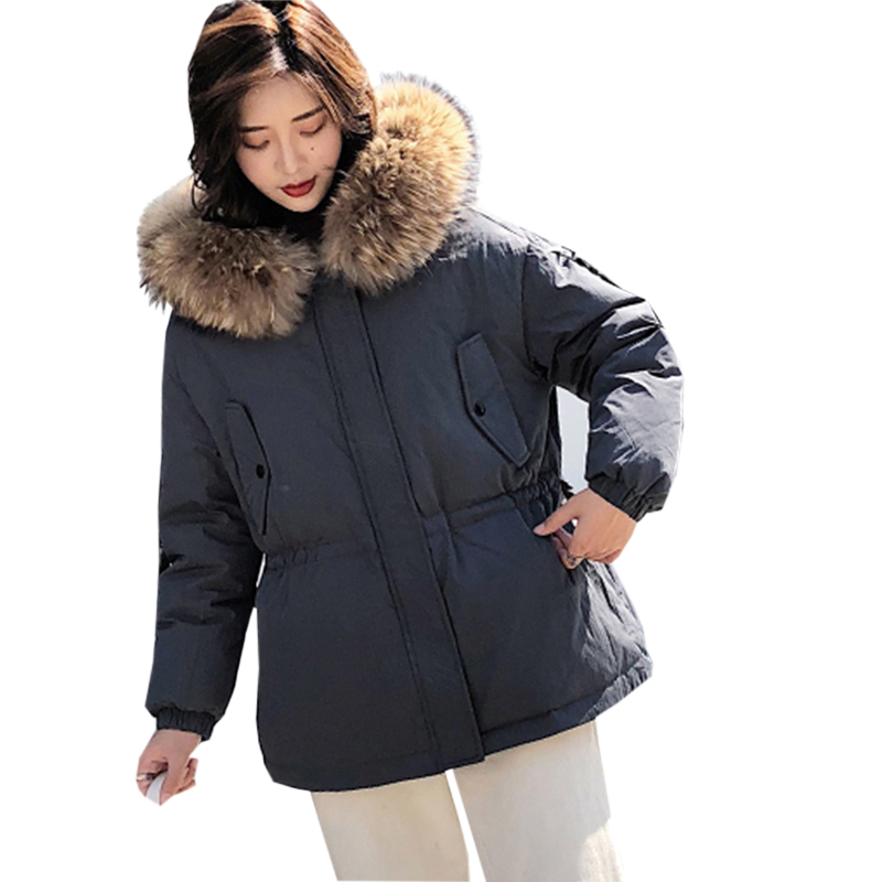Winter Short   Down   Jackets Fashion Big Raccoon Fur Collar Hooded Thick Warm   Down   Outwear Female Loose White Duck   Down     Coat   YP2101