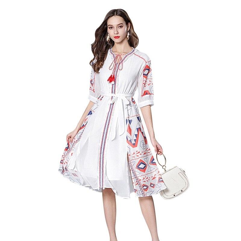 Boho Chic robe en mousseline de soie mexicaine Floral dames robes plage vacances lâche tenue décontractée Midi Vintage robes été 2019 AA4777