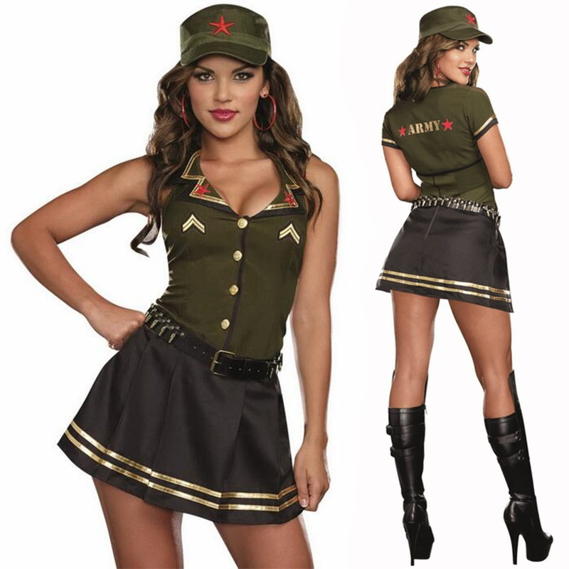 Sexy women carnaval cosplay costumes army solider girl for Halloween kostuum action