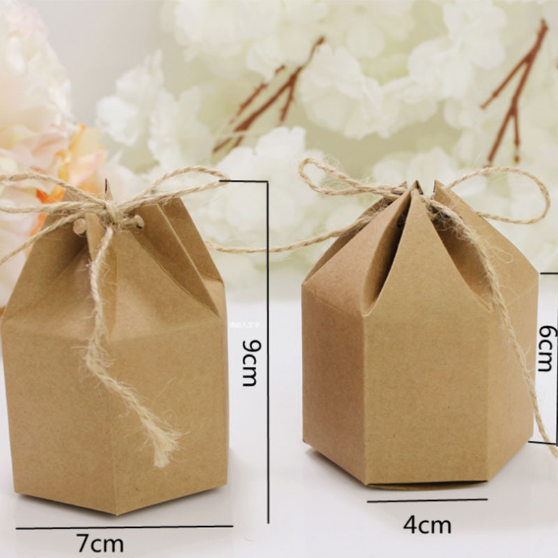 Image 2 - 50pcs Candy Dragee Box Kraft Gift Bag Wedding Favor Gift Boxes Pie Party Box Bag Eco Friendly Kraft Gift Bags Wrapping Supply-in Gift Bags & Wrapping Supplies from Home & Garden