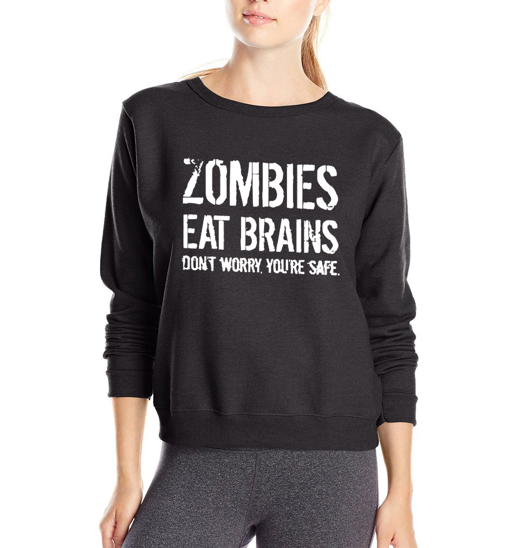 Zombies Eat Brains ,You're Safe letters funny sweatshirt slim fit harajuku pullover 2019 Spring fleece hoodies brand tracksuit
