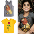 ins* 2017 baby boys 100% cotton T-shirts lion pattern girls rose printed Tops kids summer short sleeve T shirts free shipping