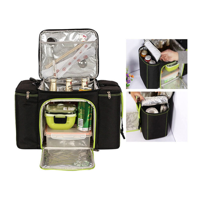 Vehicle Soft Cooler Bags Picnic Packs Three Insulated Compartment Waterproof Tote Insulated Picnic Bags Camping Food Keepers