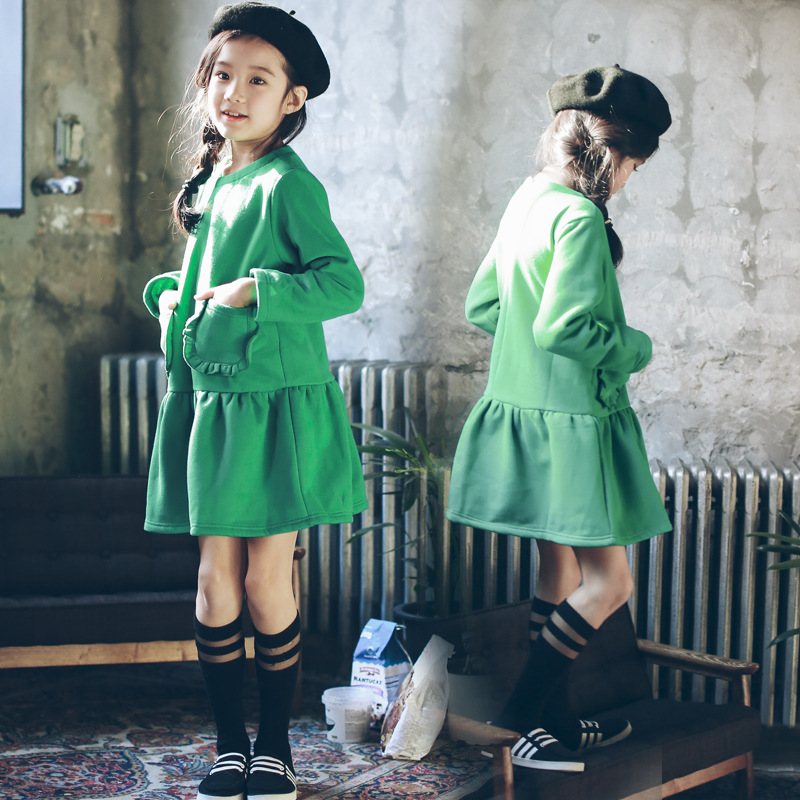 Toddler Girl Dresses Spring 2018 Kids Girls Long Sleeve Party Dress Children Hoodie Dress Age 8 10 12 Years Girls Clothing Green aveda green science masque age 8 5 oz