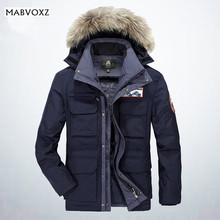Snow Mens Fur Parka AFSJEEP Brand Velvet Thick Warm Loose Casual Hooded Coat Winter Snowimage Feather