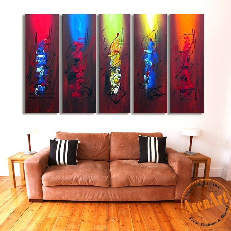 100 hand painted canvas oil painting abstract canvas wall art 5pcs home decor picture large. Black Bedroom Furniture Sets. Home Design Ideas
