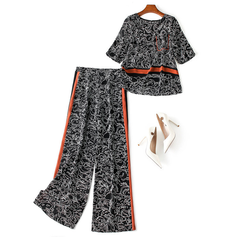 Women geometric print silk tops and blouse + wide leg pants suit side color block striepd two piece set outfits new 2019 black