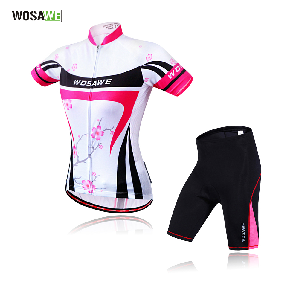 WOSAWE Female Cycling Jerseys Sets Pad Shorts mini skirt Summer MTB Bike Jersey Racing Riding Shirt ropa ciclismo wosawe female mini skirt shirt ropa ciclismo cycling jersey sets breathable mtb bike clothing short sleeve clothes