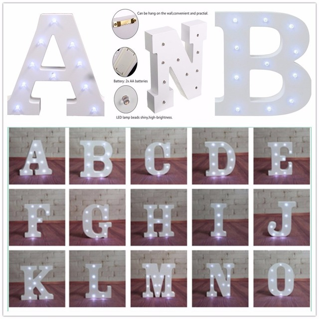 alphabet letter lights led light up white wooden letters family party weddings birthday gifts wood decorations