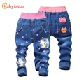 Babyinstar Kids Girls Jeans Pants 2017 Cartoon Character Pattern Casual Spring and Autumn Jeans for Kids Girl's Denim Trousers