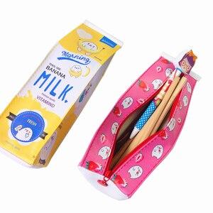 Image 4 - 10 pçs/lote Kawaii projeto da caixa de leite de Grande capacidade À Prova D Água PU Estojo de Lápis saco do lápis saco de Cosmética Novetly presente Agradável para as crianças