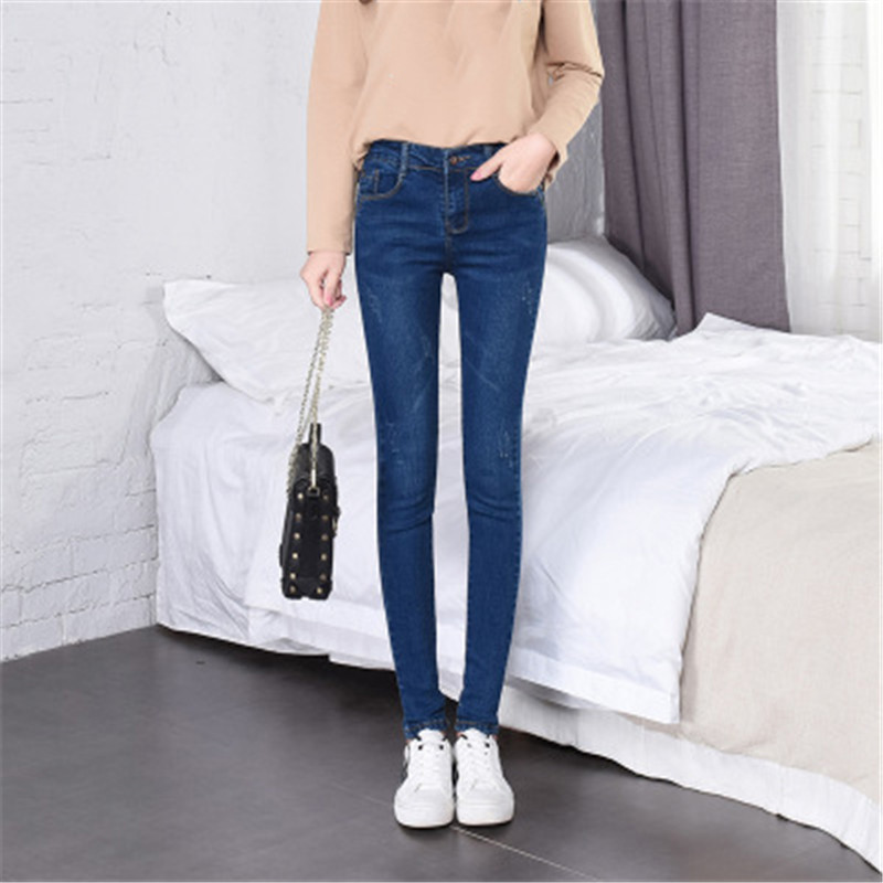Women Jeans Light Blue High Waist Skinny Pencil Jeans 2019 New Spring Summer Korean Slim Plus Size Elastic Jeans Feminina JD20