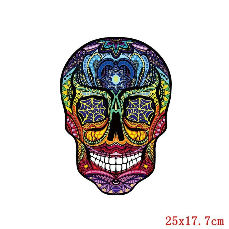 Pulaqi Skull Batman heat transfer patches Punk Animal Wolf Buterfly Heat Thermal Stickers For Man T shirt Clothes Appliqued H in Patches from Home Garden