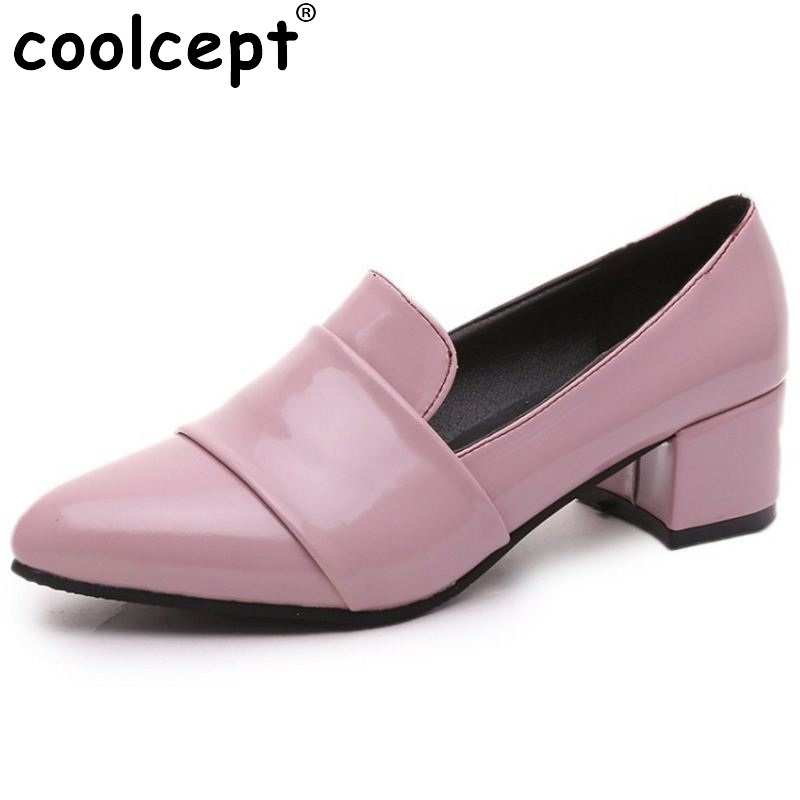 Women Square Low Heel Shoes Pointed Toe Patent Leather Heels Pumps Brand Heeled Footwear Ladies Heels Shoes Size 35-39 Z00175 women stiletto square heel high heels wedding shoes pointed toe patent leather fashion pumps heels shoes size 33 40 p22810