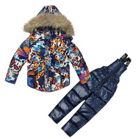 Children's Winter Jackets for Boy Warm Coat Pants Toddler Snowsuit Outerwear Ski Clothing Set Russian Cotton padded Jacket