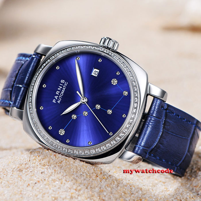 39mm Parnis blue dial diamond Sapphire glass miyota automatic mens watch P932 42mm parnis withe dial sapphire glass miyota 9100 automatic mens watch 666b