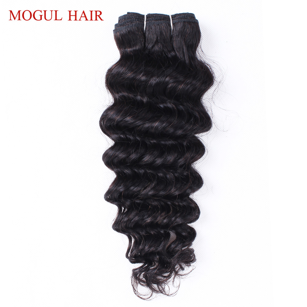Mogul Hair Indian Deep Wave Human Hair 1 Bundle Indian Hair Weave Bundles Non Remy Hair Extensions Natural Black Free Shipping