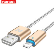 NOHON 1.5m Smart Led Metal Braided Fast Charging USB Data Sync Charger Cable For iPhone 6 6S 7 8 Plus X 5 5S XS Max XR