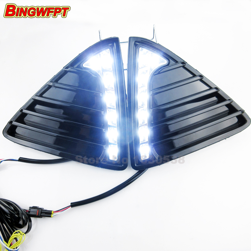 Daytime running light Bumper Front Fog lamp with dimming style Relay 12v LED Car DRL for Ford Focus 3 2012 2013 2014 12v 55w car fog light assembly for ford focus hatchback 2009 2010 2011 front fog light lamp with harness relay fog light