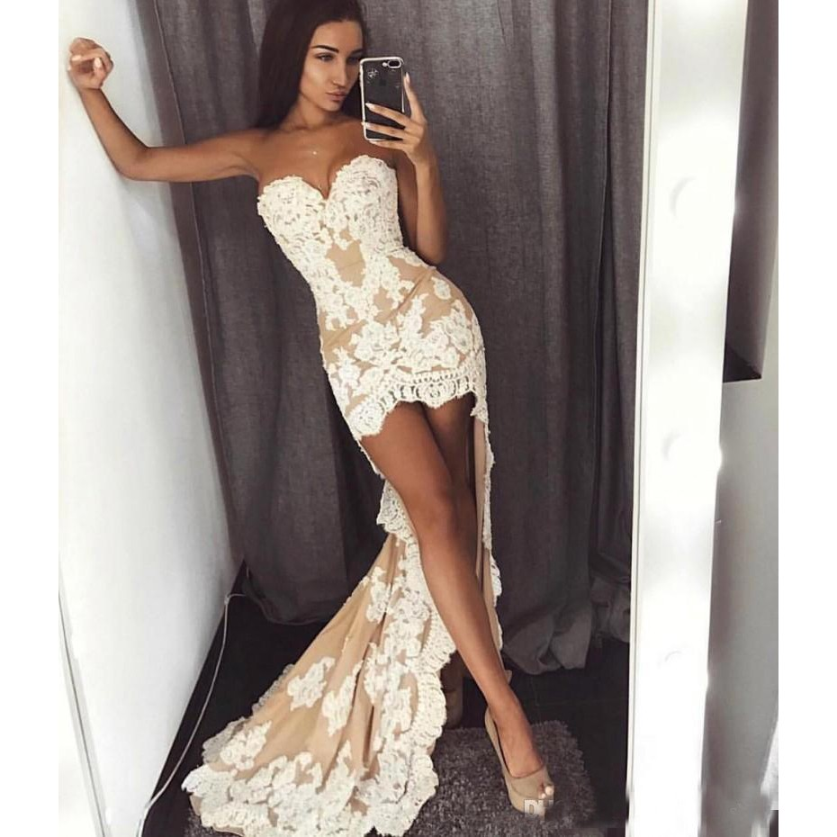 Sexy Lace Mermaid Prom Dresses 2019 Sweetheart Front Short Back Long Plus Size Evening Occasion Party Wears Cocktail Dress
