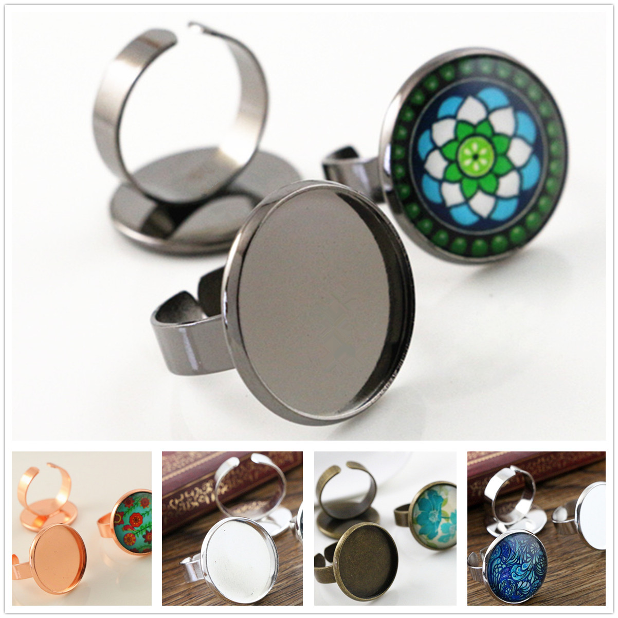 20mm 5pcs/Lot Classic 6 Colors Plated Brass Adjustable Ring Settings Blank/Base,Fit 20mm Glass Cabochons,Buttons;Ring Bezels 18x25mm 5pcs light silver and bronze plated brass drop adjustable ring settings blank base fit 18x25mm glass cabochons