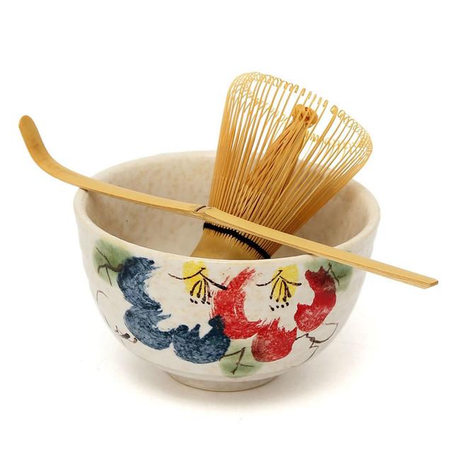 2018 Elegant 3pcs sets Tea Ceremony Matcha Ceramic Tea Bowl Bamboo Tea Scoop Matcha Whisk Japanese Teaware Tea Tool 4 Style